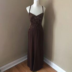 ❤️Oleg Cassini Brown Silk Beaded Maxi Cross Dress